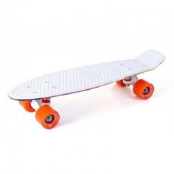 Rotaļīgs penny board skrituļdēlis balts +  krāsu mix Storm 22
