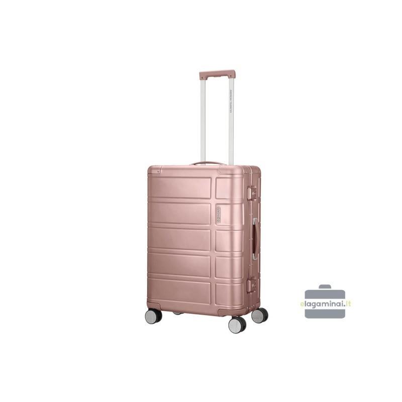Vidējais alumīnija koferis American Tourister Alumo V rozā